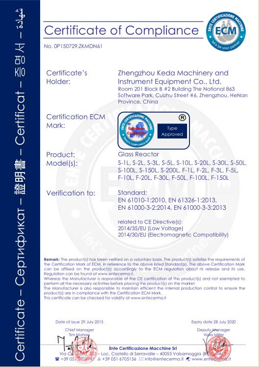 Glass reactor CE certificate