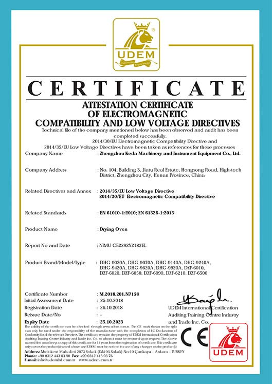 Drying oven CE certificate